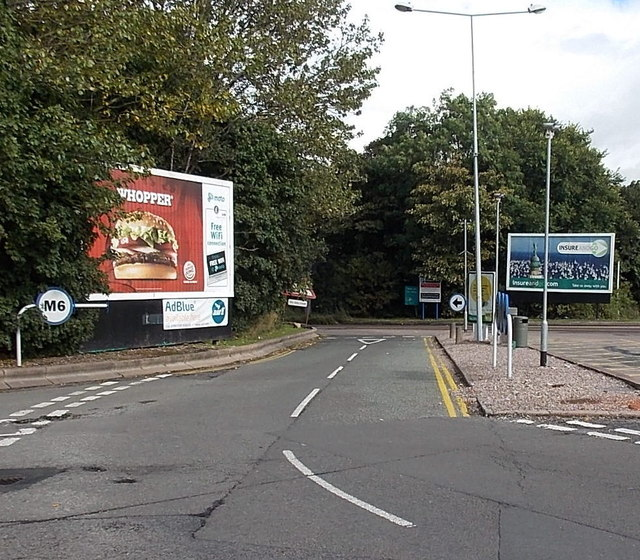 Exit road from Hilton Park services (northbound), Essington