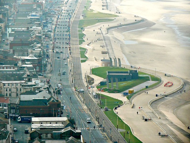 View south from the viewing gallery of the Blackpool Tower