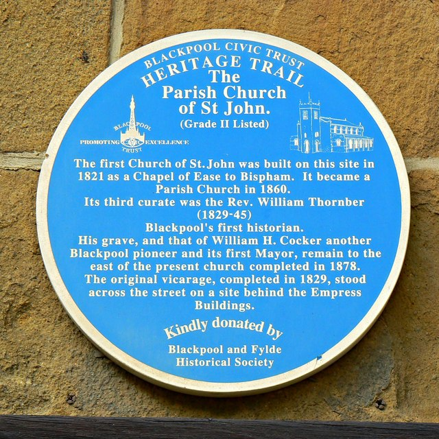 Blue plaque, Church of St John, Blackpool