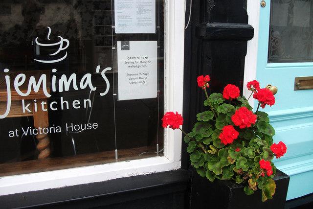 Geraniums outside Jemima's Kitchen