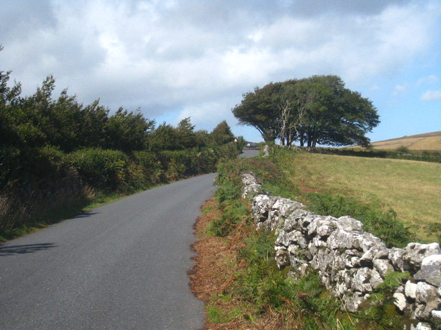 Dry stone wall beside the road at Buckland Common