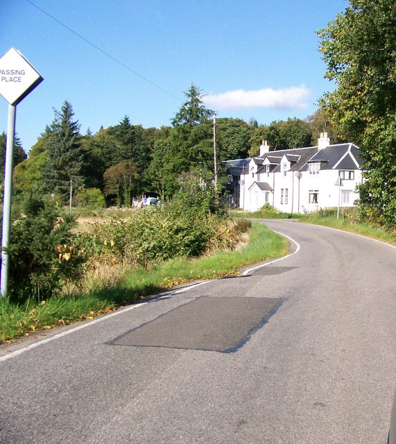 Road and houses near Achnaba