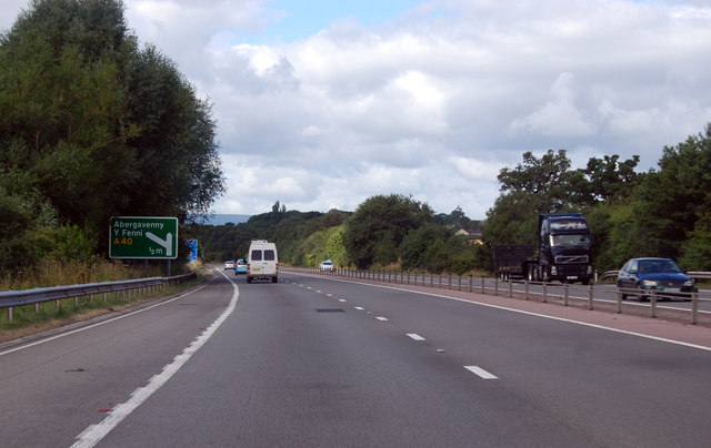 A40 junction for Abergavenny half a mile ahead