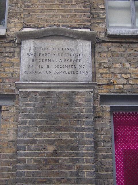 World War One bombing memorial plaque, St John's Lane, EC1