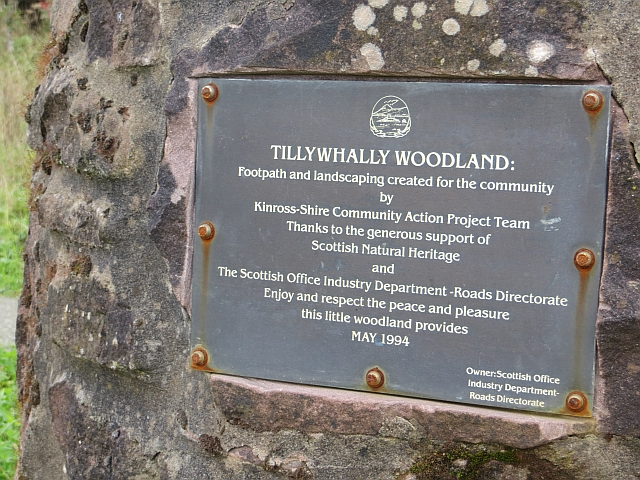 Plaque, Tillywhally Woodland