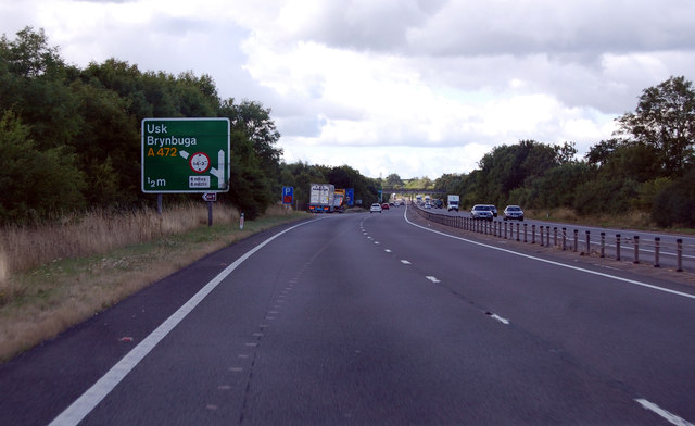A449 junction with A472 for Usk half mile ahead