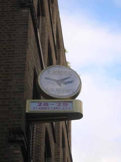 Rear of clock on former travel firm's premises, St John's Lane, EC1