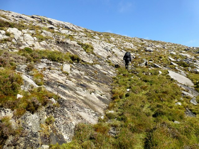 Climbing Steep Slope On Sgaoth Iosal