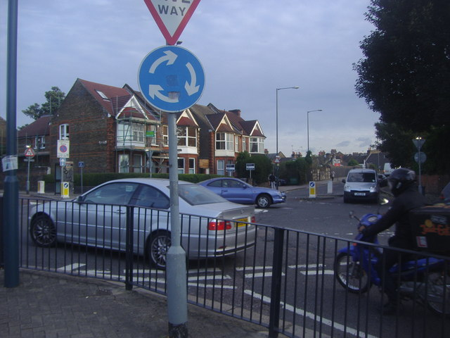 Roundabout at the end of Wrottesley Road