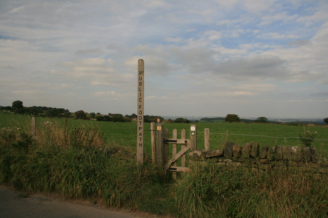 Footpath sign and gate to a grass field