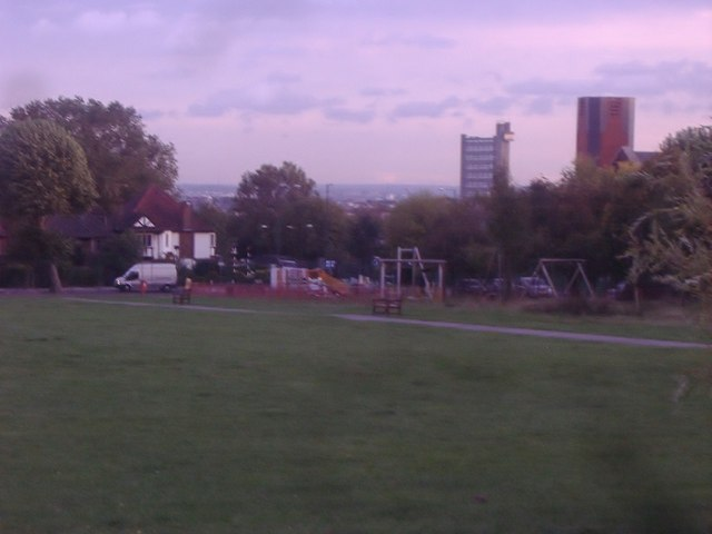 View from playing fields towards Central London