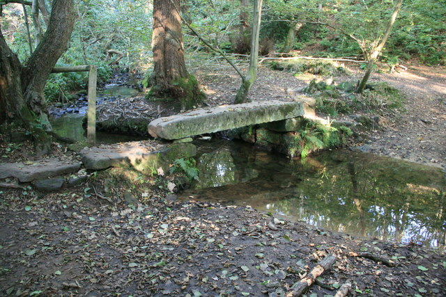Stone slab bridge and ford over Smalley Brook