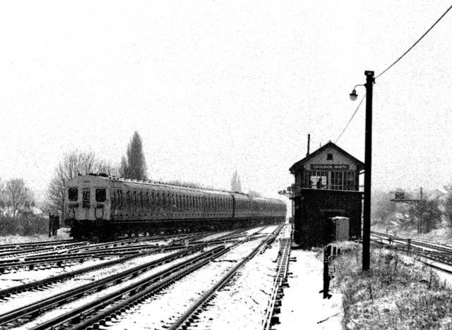 4-SUB units passing Coulsdon North signal box