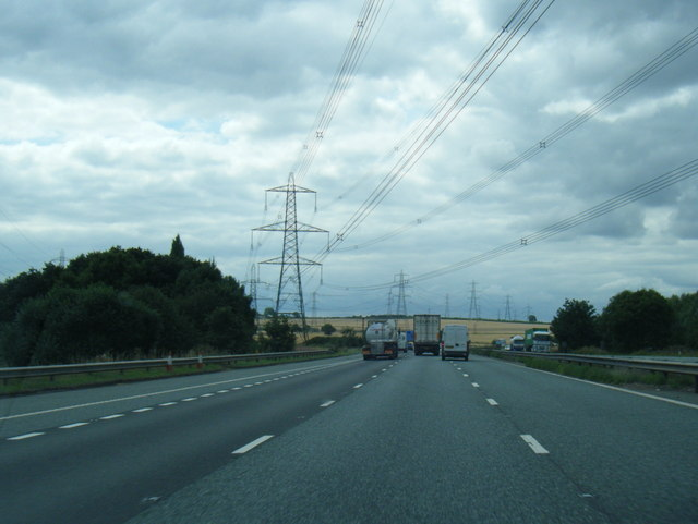 M62 crossed by power lines west of Junction 32