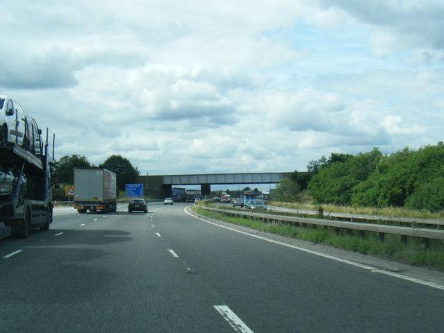 M62 passes under railway near Altofts