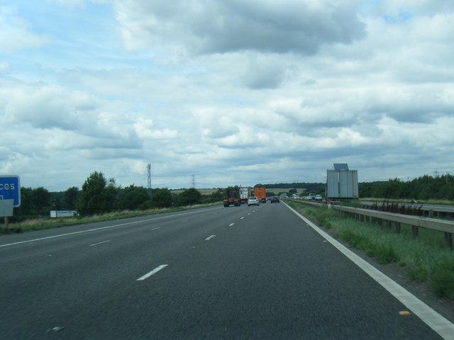 M62 westbound near Lower Altofts