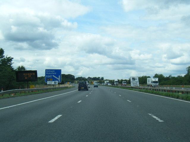 M62 westbound near Methley Lanes
