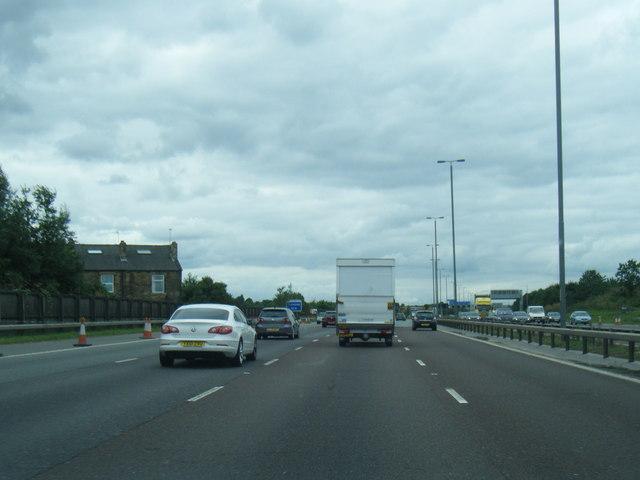 M62 westbound near Ardsley Common
