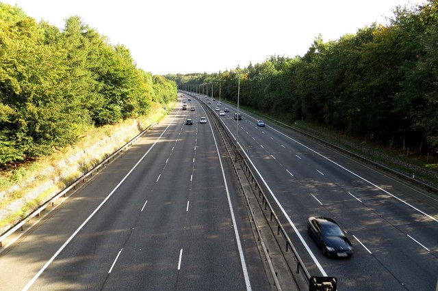 The M40 southbound from Bigmore Lane Bridge