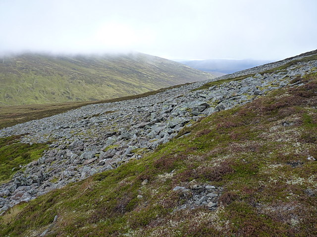 Boulder scree on the western side of An Sgarsoch