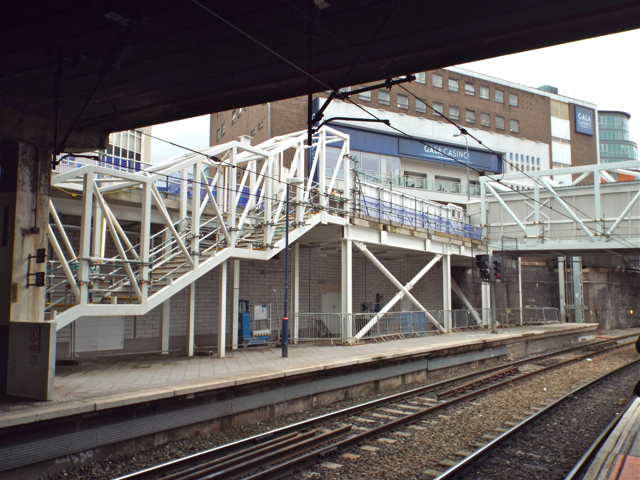 New stairs under construction, platform 12, New Street station