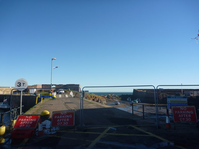 Coastal East Lothian : Roadblock At Victoria Harbour, Dunbar