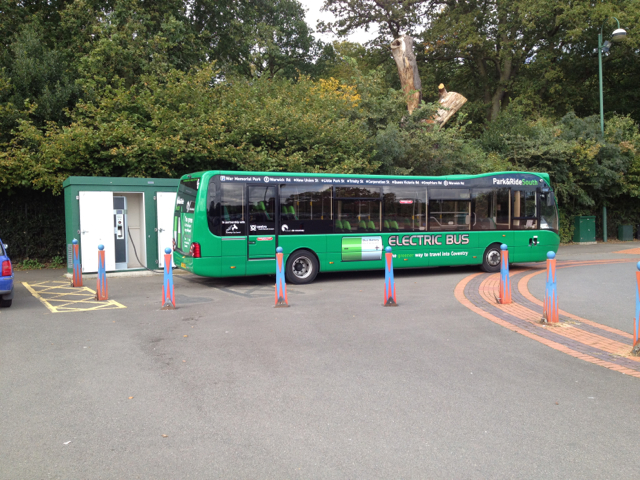 Electric bus charging, Coventry Park&Ride South terminus