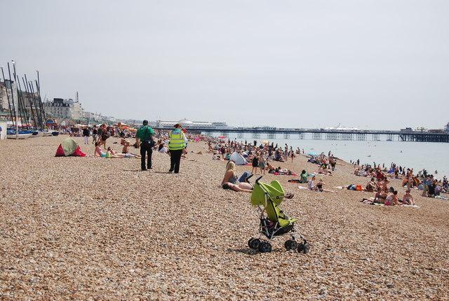 Enjoying a hot July Day on the beach
