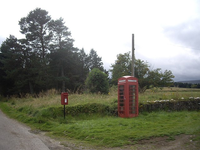 Postbox and telephone kiosk, The Cabrach