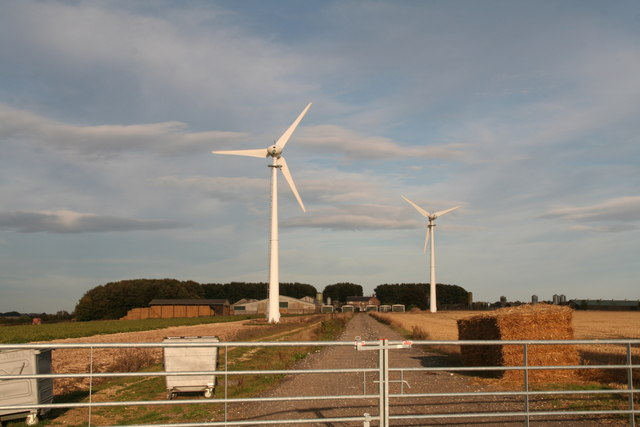 Ling Farm and its two wind turbines