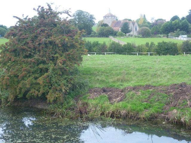 St Mary Magdalene, Ruckinge seen across the Royal Military Canal