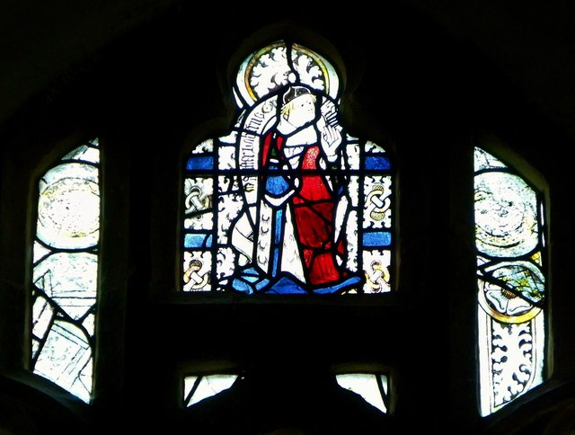 Medieval glass, St Etheldreda's, Horley