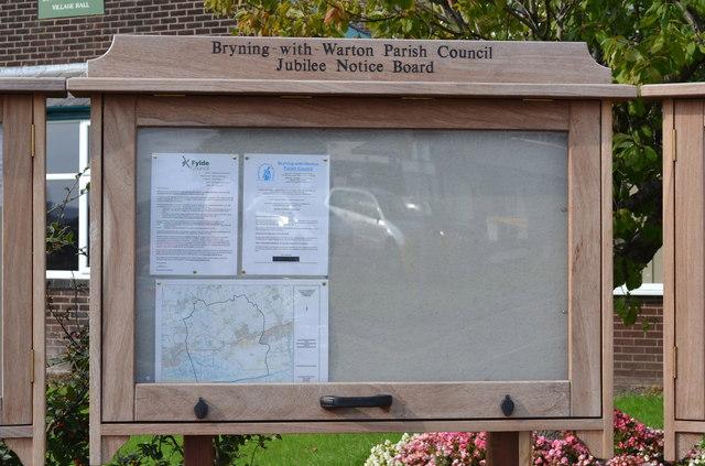 Parish Notice Board at Warton Village Hall, Lytham Road, Warton, near Preston