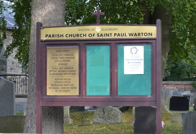 St Paul's Church Noticeboard, Church Road, Warton, near Preston