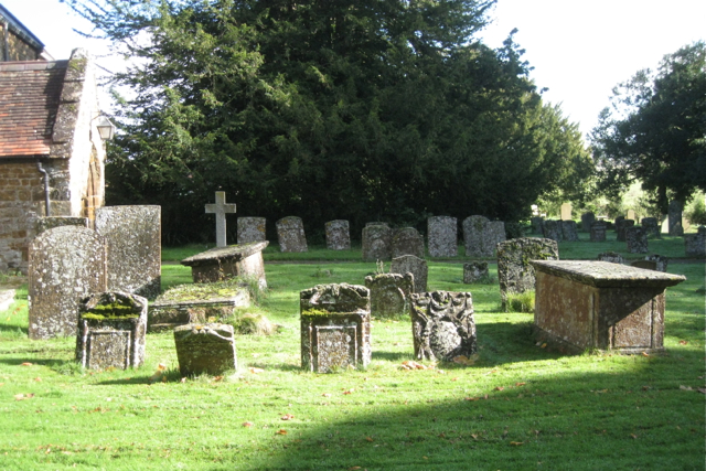 Centuries-old memorials, Priors Hardwick churchyard