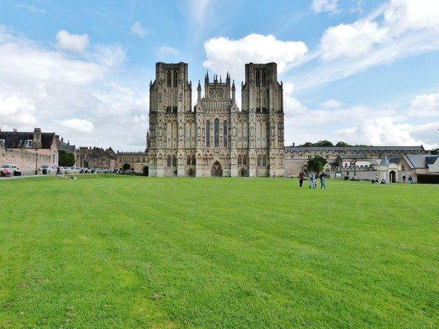 The classic view of Wells Cathedral