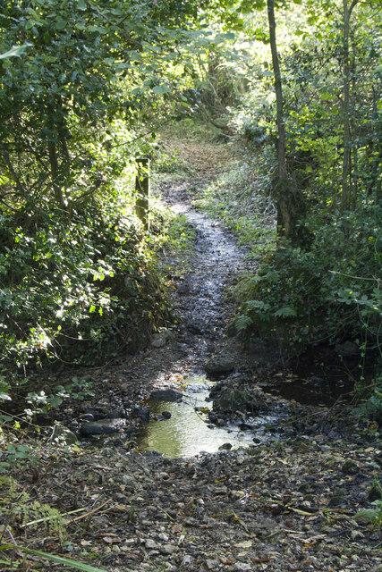 Bridlepath crosses stream