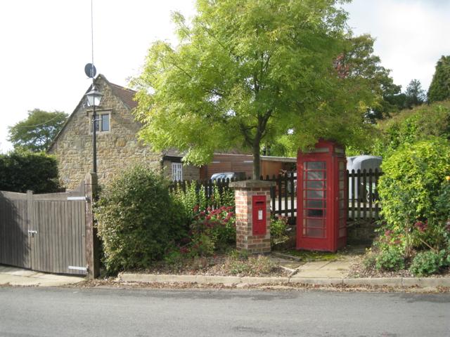 Postbox number CV23 169 and K6 phone box, Priors Hardwick