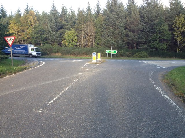 Road junction with the A9 near Calrossie