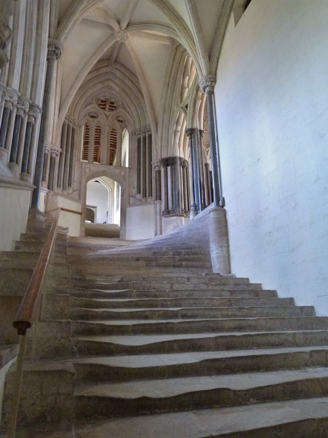 The well worn steps up to the Chapter House, Wells Cathedral
