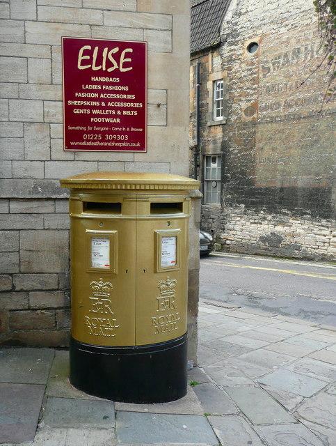 Gold letter box, Bradford-on-Avon