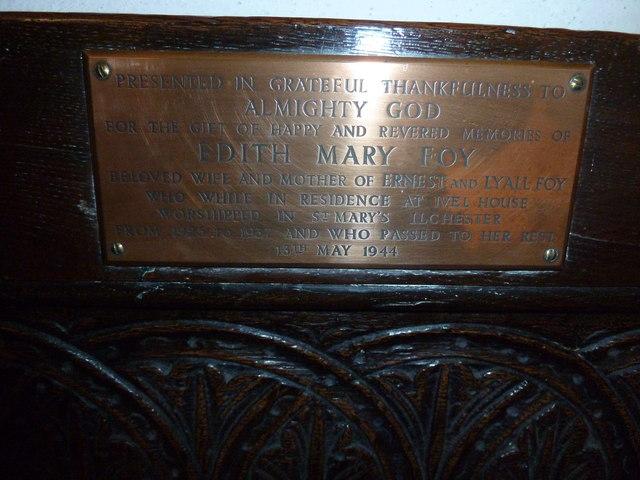 Saint Mary Major, Ilchester: memorial (XI)