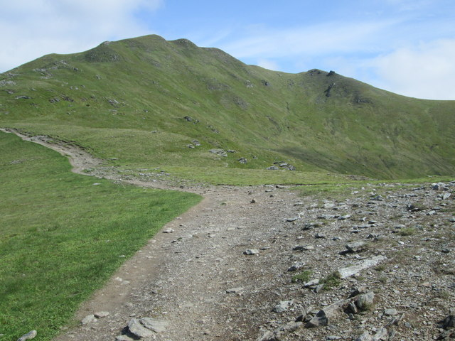 Point where the path levels out on Beinn Ghlas