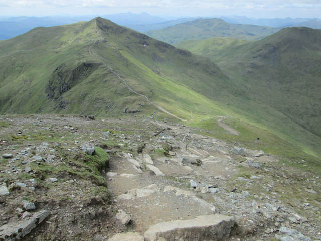 Look back down the steep path up Ben Lawers