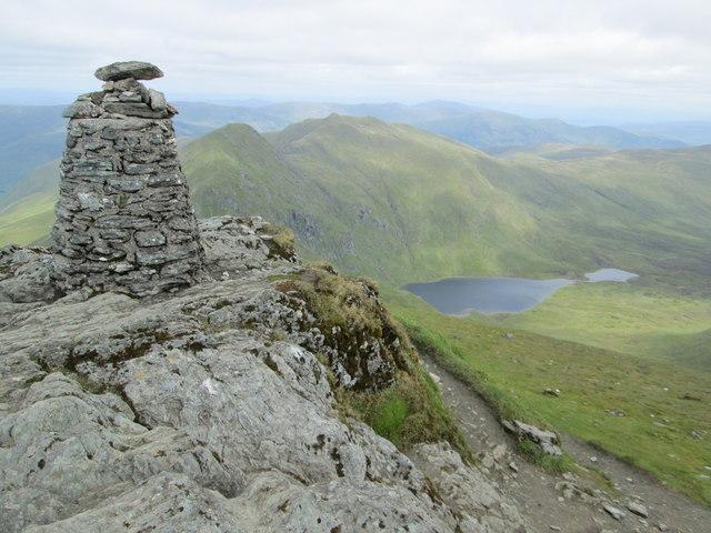 Ben Lawers summit view towards Lochan Nan Cat