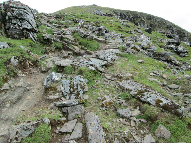 Rocky path leading to the summit of Ben Lawers