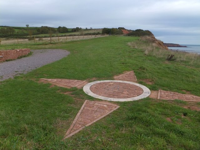 Compass rose on the ground at Orcombe Point