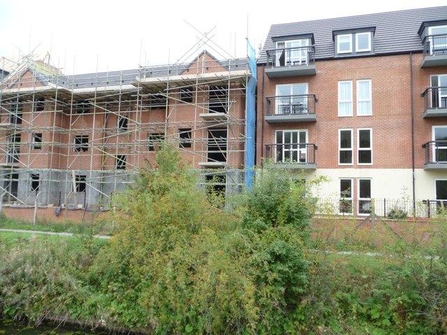 Central block of new flats, off Iris Crescent