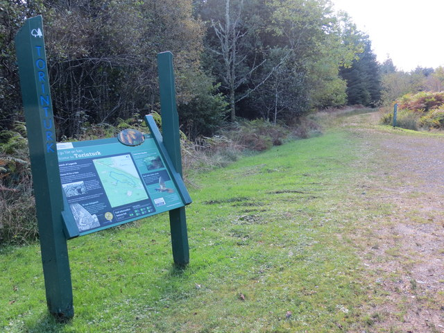 Information board and forest road at Torinturk