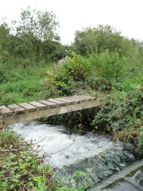 Footbridge across a raging bywash